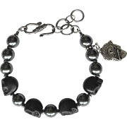 Men's Skull Bracelet of Black Howlite Skulls and Hematite Beads with El Guitaro