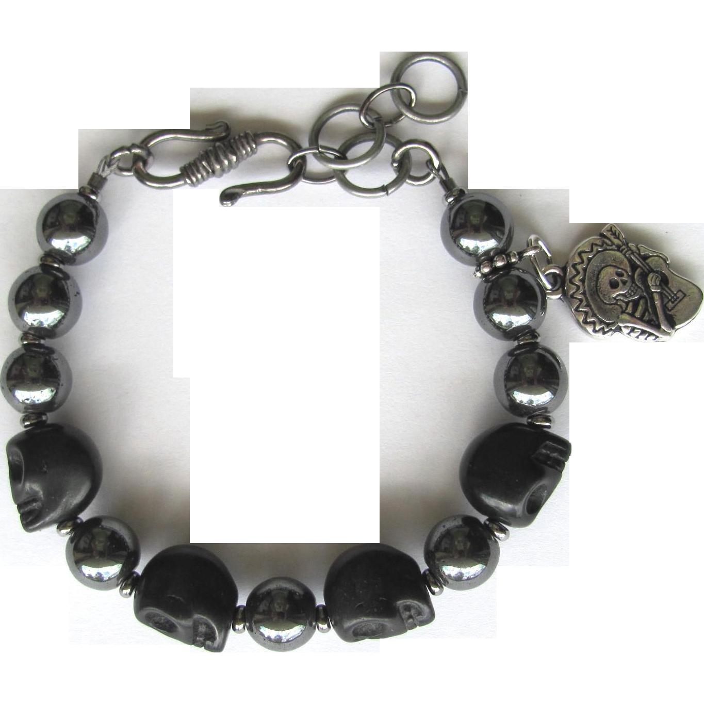 Men's Skull Bracelet of Black Howlite Skulls and Hematite Beads with El Guitaro