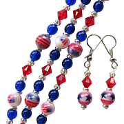 Red, White and Blue Three Strand Bracelet and Earrings with Sparkling Swarovski and Flag Beads