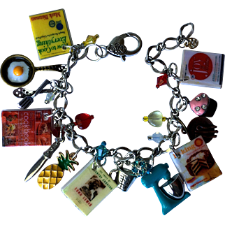 Cooking Charm Bracelet with Tiny Cookbooks –Food and Utensils Charms – Swarovski Crystals