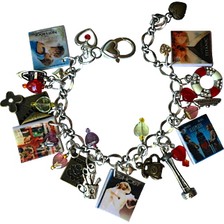 Romantic Movies Charm Bracelet with Tiny Movie Posters – Matching Charms – Hearts