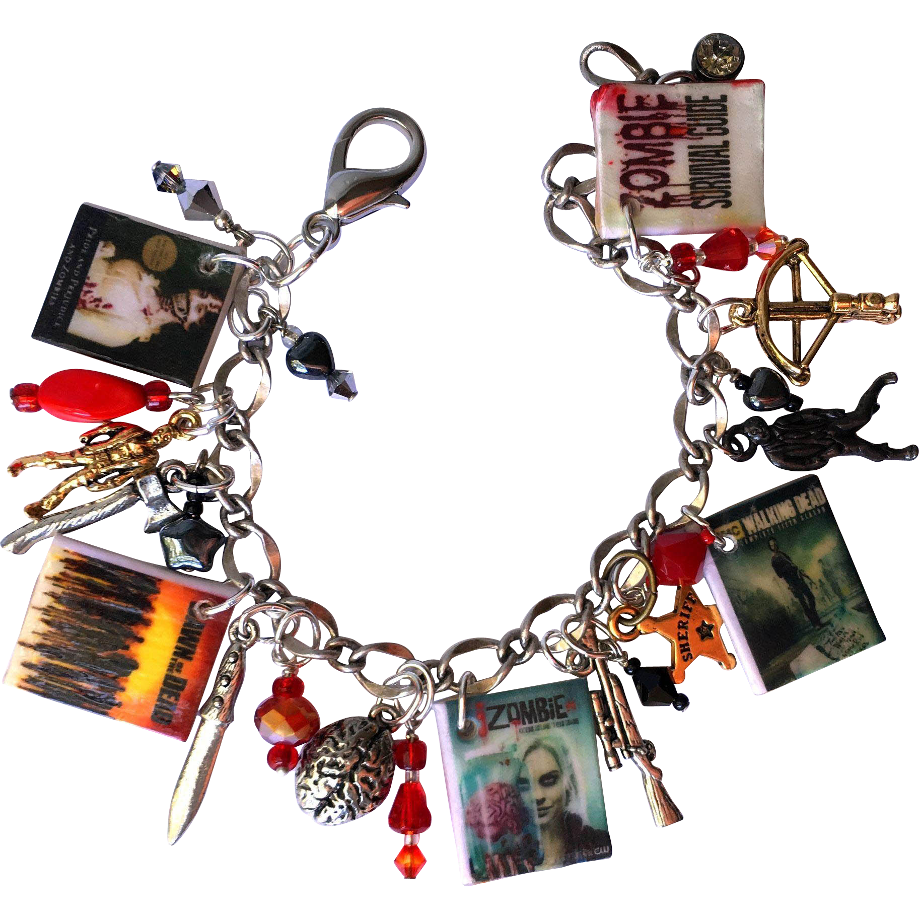 Zombies Charm Bracelet with Tiny Zombie Survival Guide - Show Posters – Zombie Charms
