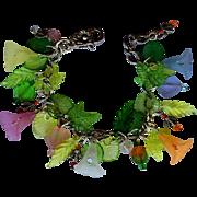 Flower Garden Charm Bracelet with Frosted Pastel Flowers – Sparkling Bees - Swarovski Crystals