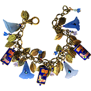 Flower Bracelet in Blue and Gold Colors with Cloisonne Beads and Swarovski Crystals