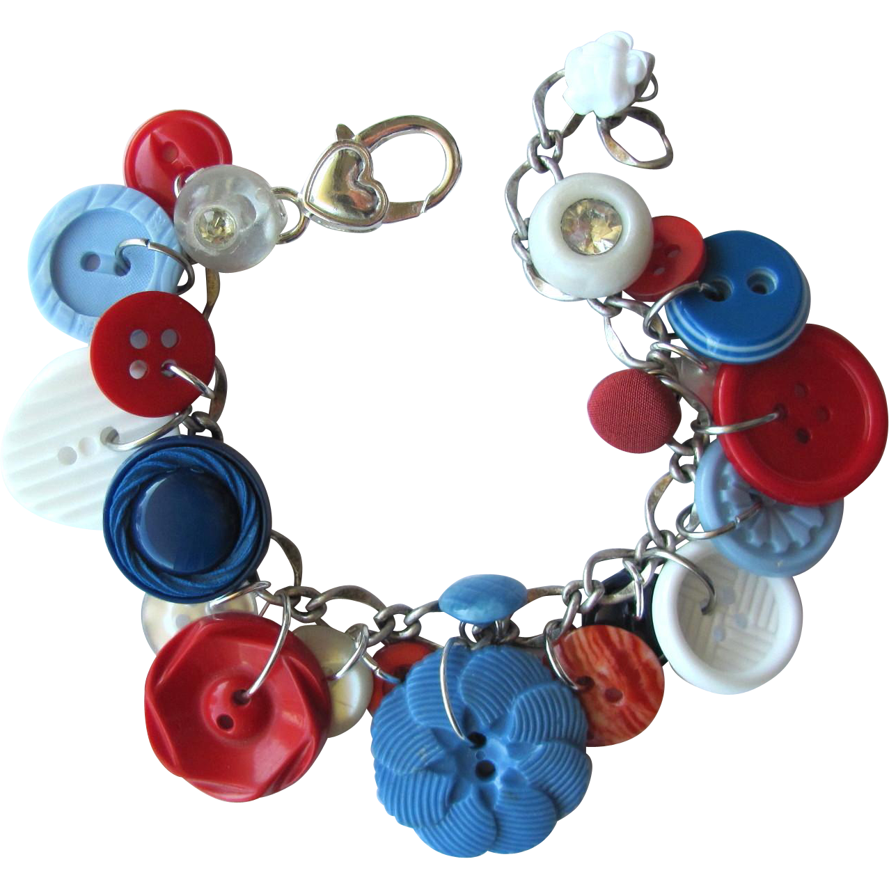 Charm Bracelet of Vintage Buttons in Bright Colors of Red – White – and Blue