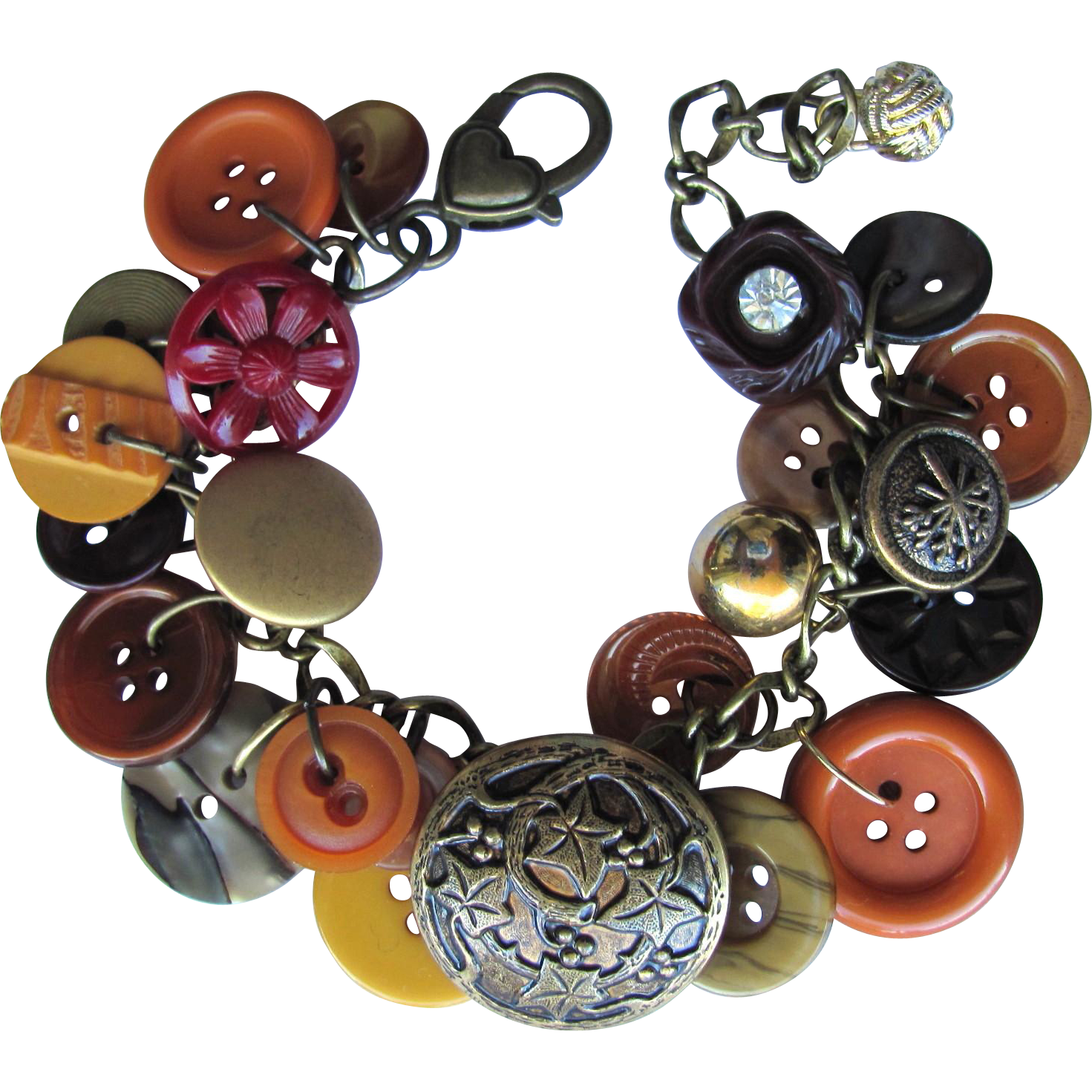 Charm Bracelet of Vintage Buttons in Autumn Colors – Burnt Sienna – Bronze – Caramel – Scarlet - Honey