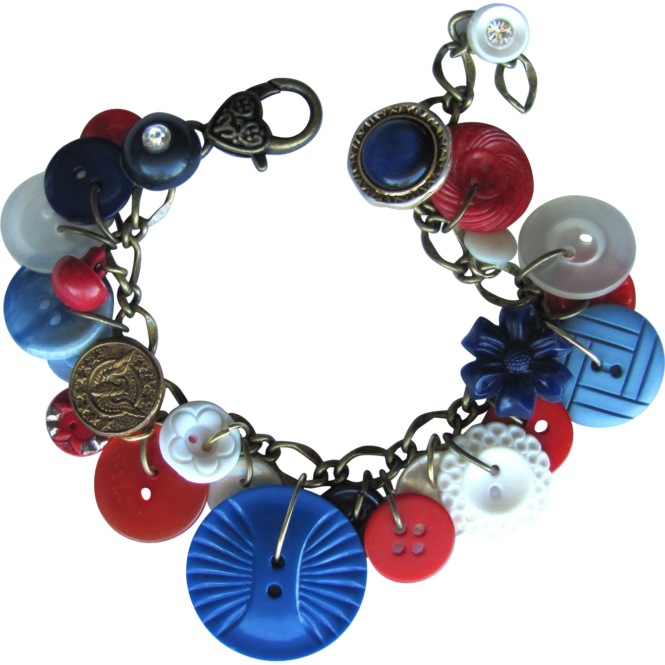 Charm Bracelet of Vintage Buttons with Red – White – Blue – Eagle Button – Rhinestones