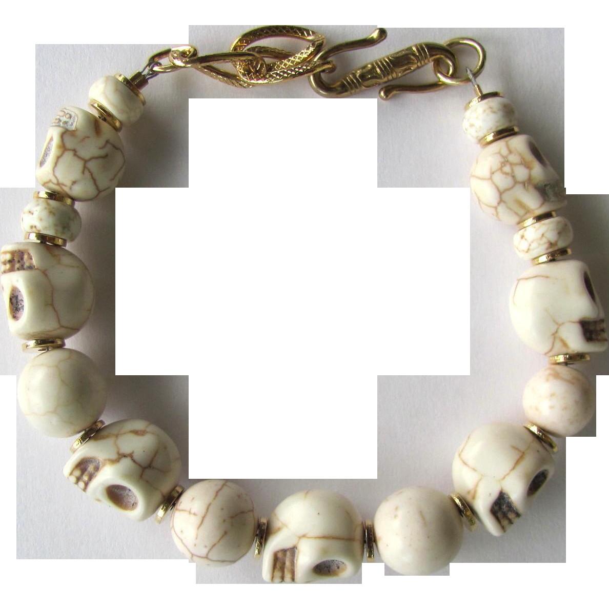Men's Skull Bracelet of Bone-Colored Howlite Skulls and Magnesite Beads - Size Large