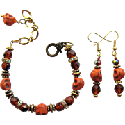 Orange Skull Bracelet with Sparkling Rondelles and Fire Polished Beads - Matching Earrings