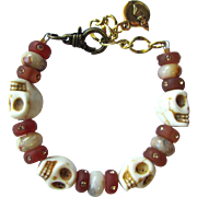 Skull Bracelet with Crazy Lace Agate Beads and Swarovski Accents