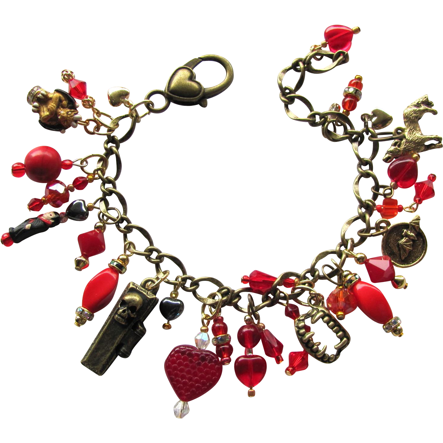 Vampire Charm Bracelet in Red and Gold Colors with Vampire Teeth – Swarovski Crystals – Earrings