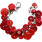 Charm Bracelet of Vintage Buttons in Vivid Shades of Red with Rhinestone Button Accents