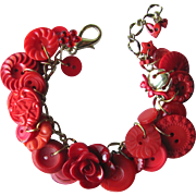 Charm Bracelet of Vintage Buttons in Brilliant Reds with Red Rose and Flower Buttons