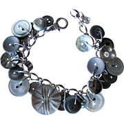 Charm Bracelet of Vintage Buttons in Shades of Grey – Mother of Pearl – Lucite – Rhinestone