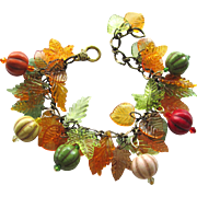 Charm Bracelet in Shades of Autumn with Magnesite Melon Beads - Acrylic Leaves – Swarovski Crystals