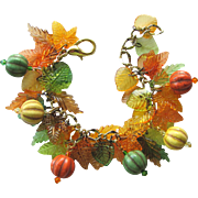 Charm Bracelet in Fall Colors with Magnesite Melon Beads – Acrylic Leaves – Swarovski Crytals