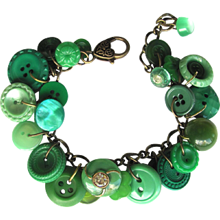 Charm Bracelet of Vintage Buttons in Shades of Green with Rhinestone Accents