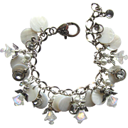 Charm Bracelet in White with Iridescent Angels – Swarovski Crystals – Pearl Shells – Rhinestones