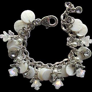 Charm Bracelet in White with Iridescent Angels – Swarovski Crystals – Pearl Shells – Rhinestones