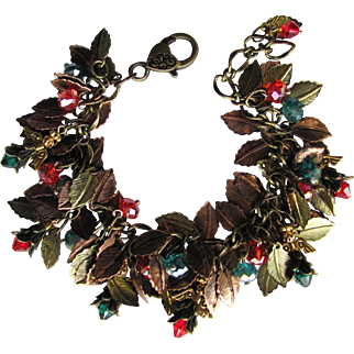 Angels Charm Bracelet with Copper and Gold Colored Leaves and Swarovski Crystals