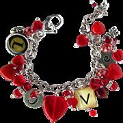 Love Charm Bracelet with Red Hearts - Alphabet Love Charms – Swarovski Crystals