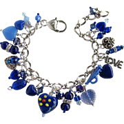 Heart Charm Bracelet in Blue and Silver Colors with Swarovski Crystals and Lampwork Beads
