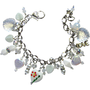 Heart Charm Bracelet in White and Silver Colors with Swarovski Crystals and Lampwork Beads