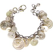 Vintage Buttons Bracelet with Mid-Century Buttons – Mother of Pearl – Rhinestone