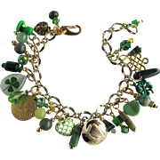 Lucky Charm Bracelet with Leprechaun's Hat – Four Leaf Clovers – Celtic Harp Button – Swarovski Crystals
