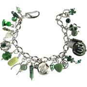 Charm Bracelet with Lucky Charms – Leprechaun's hat – Dragon - Wishbone – Celtic Harp Button – Shamrocks