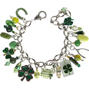 Four Leaf Clover Charm Bracelet with Wishbone – Horseshoe – Swarovski Crystals