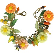 Daisy Charm Bracelet in Shades of Yellow and Orange Sherbet with Bees and Butterflies