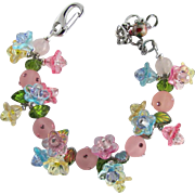 Flower Bracelet with Trios of Small Pastel Flowers and Sparkling Crystals - Matching Earrings