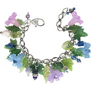 Flower Garden Charm Bracelet with Trumpet Flowers in Pink and Blue with Swarovski Crystals