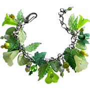 Flower Bracelet in Shades of Green and Yellow with Frosted Flowers and Peridot Accents