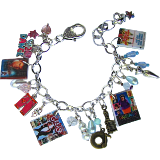 Dance Movies Charm Bracelet with Unique Charms - Swarovski Crystals - Tiny DVDs - Sparkling Beads