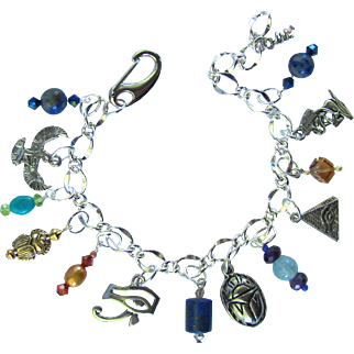 Ancient Egypt Motif Charm Bracelet with Cleopatra Charms – Gemstones – Scarabs – Swarovski Crystals