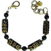 Black Agate and Ceramic Bracelet of Black Ceramic Beads Hand-Painted with Gold Designs