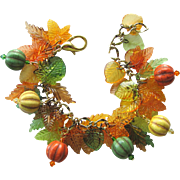 Charm Bracelet in Fall Colors with Magnesite Melon Beads – Acrylic Leaves – Swarovski Crystals