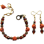Orange Skull Bracelet with Sparkling Rondelles and Iridescent Fire Polished Beads - Matching Earrings