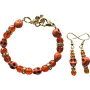 Skull Bracelet of Orange Skulls and Sparkling Fire-Polished Beads with Matching Earrings