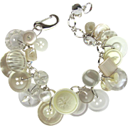 Charm Bracelet of Vintage Buttons in White with Faux Pearls – Lucite – Rhinestone – Iridescent Buttons
