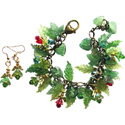 Angels and Evergreens Charm Bracelet with Swarovski Accents and Matching Earrings