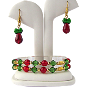 Two-Strand Holiday Bracelet in Red and Green Beads with Golden Accents – Matching Earrings