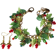 Angels and Garlands Charm Bracelet in Red and Green – Swarovski and Preciosa Accents – Earrings