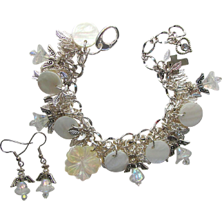 Charm Bracelet in White with Iridescent Angels – Swarovski Crystals – Shimmering Leaves – Matching Earrings