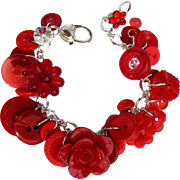 Charm Bracelet of Vintage Buttons in Brilliant Reds with Rose and Flower Buttons