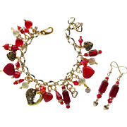 Heart Charm Bracelet in Red and Gold Colors with Swarovski Crystals and Matching Earrings