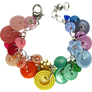 Charm Bracelet of Vintage Buttons in Rainbow Colors with Rhinestone Accents