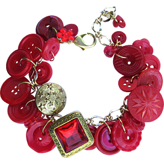 Charm Bracelet of Vintage Buttons in Vivid Shades of Red